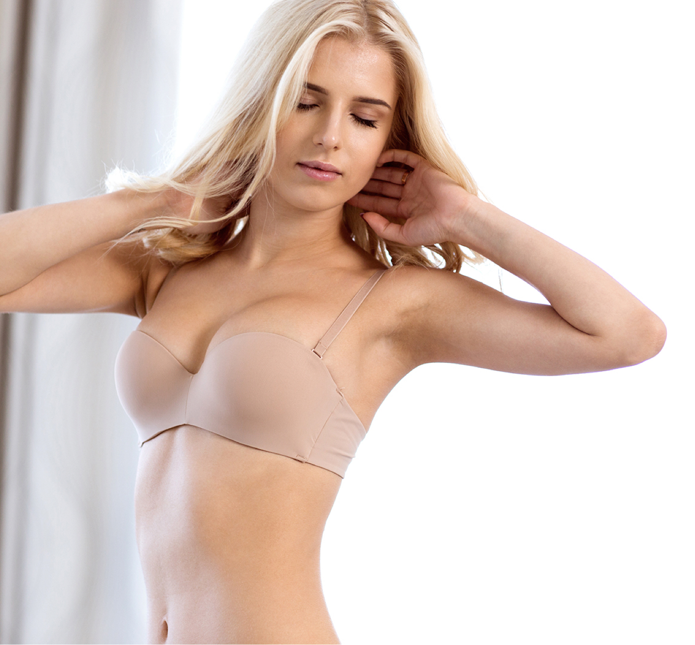 Blonde woman in bra