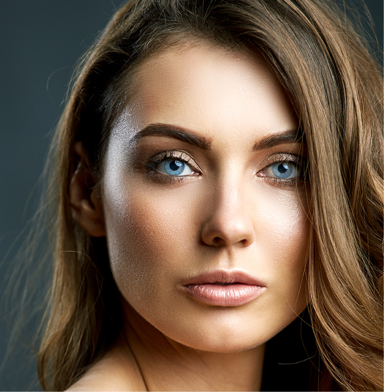 model with striking blue eyes